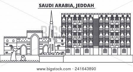 Saudi Arabia, Jeddah Line Skyline Vector Illustration. Saudi Arabia, Jeddah Linear Cityscape With Fa
