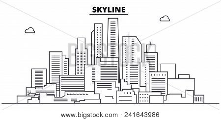 Skyline Line Skyline Vector Illustration. Skyline Linear Cityscape With Famous Landmarks, City Sight