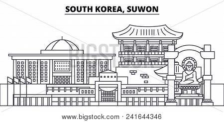 South Korea, Suwon Line Skyline Vector Illustration. South Korea, Suwon Linear Cityscape With Famous
