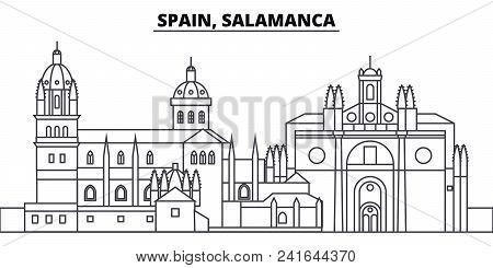 Spain, Salamanca Line Skyline Vector Illustration. Spain, Salamanca Linear Cityscape With Famous Lan
