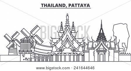 Thailand, Pattaya Line Skyline Vector Illustration. Thailand, Pattaya Linear Cityscape With Famous L
