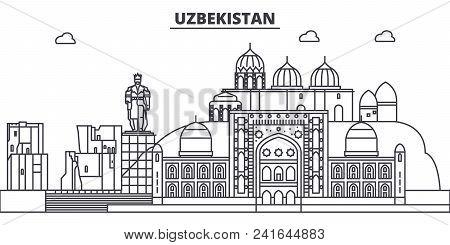 Uzbekistan Line Skyline Vector Illustration. Uzbekistan Linear Cityscape With Famous Landmarks, City