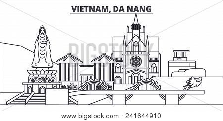 Vietnam, Da Nang Line Skyline Vector Illustration. Vietnam, Da Nang Linear Cityscape With Famous Lan