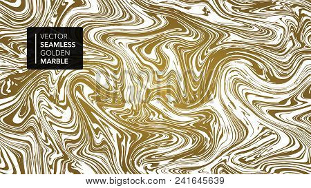 Marble Gold And White Texture Seamless Background. Abstract Golden Glitter Marbling Seamless Pattern