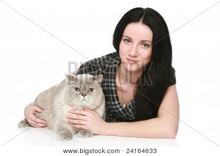 Attractive woman with a British cat on a white background poster
