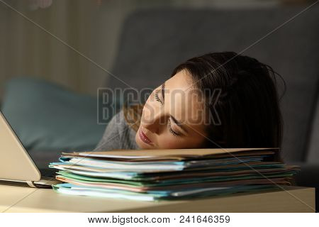 Tired Self Employed Sleeping Over A Lot Of Documents Late In The Night At Home