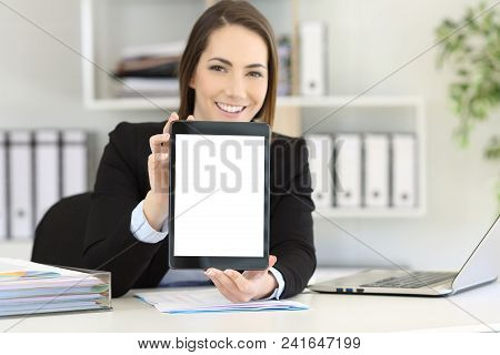 Happy Office Worker Showing To Camera A Tablet Screen Mockup