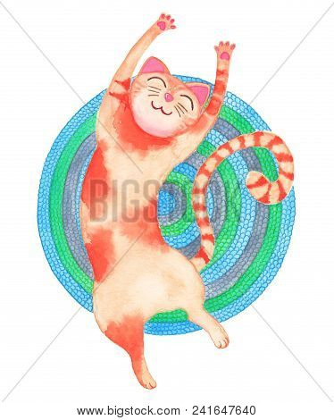 Red Stretching Cat On The Colourfull Carpet. Watercolour Illustration.