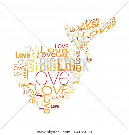 heart and love bird