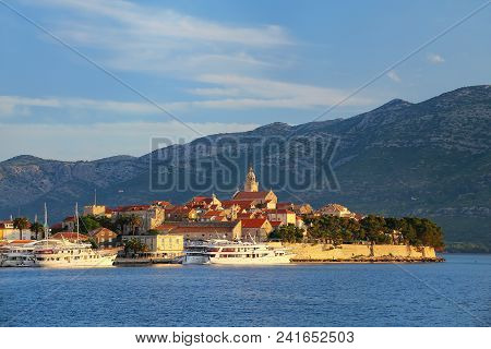 Korcula Old Town In Early Morning Light, Croatia. Korcula Is A Historic Fortified Town On The Protec
