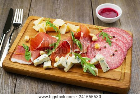 Gourmet Snacks Set, Food Photo Art, Luxury Restaurant Meals. Prosciutto, Salami And Finest Delicious