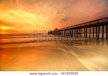 Peachy Keen: Sunrise At Jacksonville Beach Fishing Pier, Jacksonville Beach, Florida