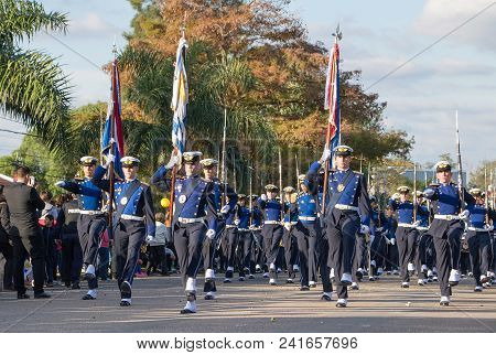 Canelones, Uruguay - May 18, 2018: Parade Of The Air Force Battalion Of Uruguay, 207 Anniversary Of