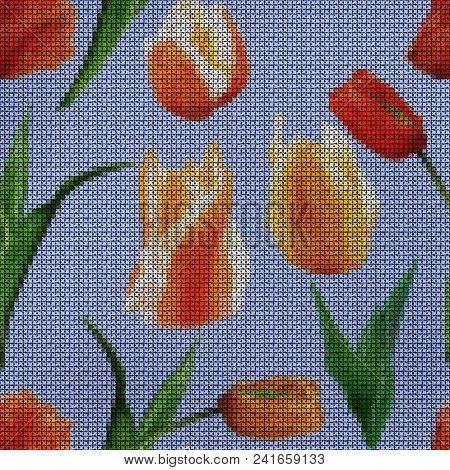 Illustration. Cross-stitch. Tulip. Texture Of Flowers. Seamless Pattern For Continuous Replicate. Fl