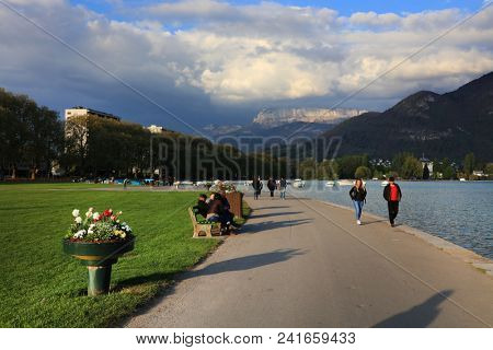 STRESA, ITALY - 11MAY, 2018 - summer scene Stresa, famous resort on the western shore of Maggiore Lake, Italy, Europe