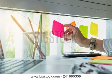 Sticky Note Paper Reminder Schedule Board. Accountant Or Business Use Post It Notes To Share Idea On