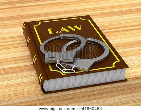 lawbook and handcuffs. 3D illustration