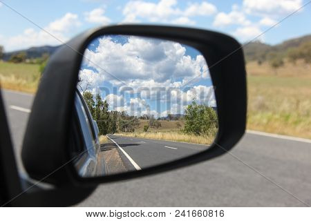 View In The Side Mirror Of The Road And Country Side In Rural New South Wales Bylong Valley - Austra