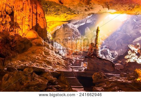 Beautiful Gold Sunlight Shining To Sung Sot Cave Or Surprise Grotto On Bo Hon Island Is One Of Fines
