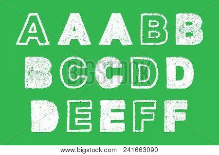 Handwritten White Bold Chalk Letter A, B, C, D, E, F On Green Background, Hand-drawn Chalk Font, Bac