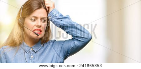 Consultant of call center woman in headphones doubt expression, confuse and wonder concept, uncertain future
