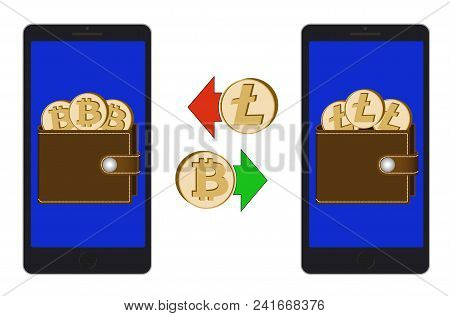 Exchange Between Bitcoin And Litecoin In The Phone On A White Background , Exchange Cryptocurrency I