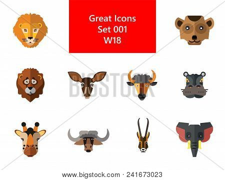 Animal Faces Icon Set. Lion Head Zebra Hippo Head Giraffe Lion Face Wolf Elephant Antelope Head Meer