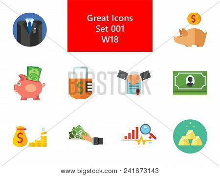 Bank Icon Set. Suit Hand With Banknotes Partnership Concept Padlock Piggy Bank With Coin Money Bag A