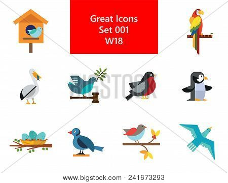 Birds Icon Set. Birdhouse Nest With Eggs Bullfinch Bird Sitting On Branch Blue Bird Dove With Olive