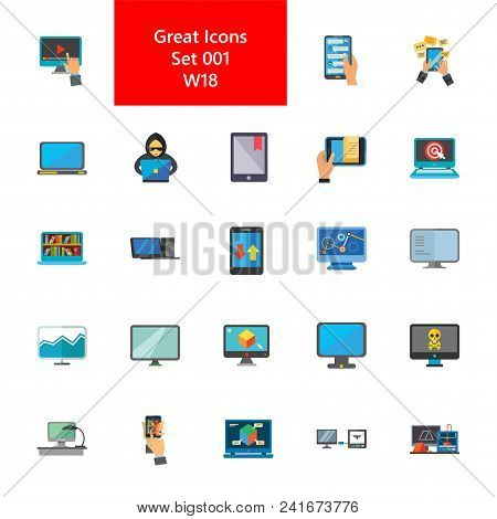Icon Set Of Computers And Mobile Phones. Multimedia, Application, Electronic Appliances. Mobile Tech