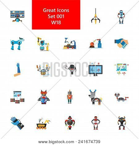 Icon Set Of Robots. Robotic Technology, Automated Production, Cyborg. Innovation Concept. For Topics
