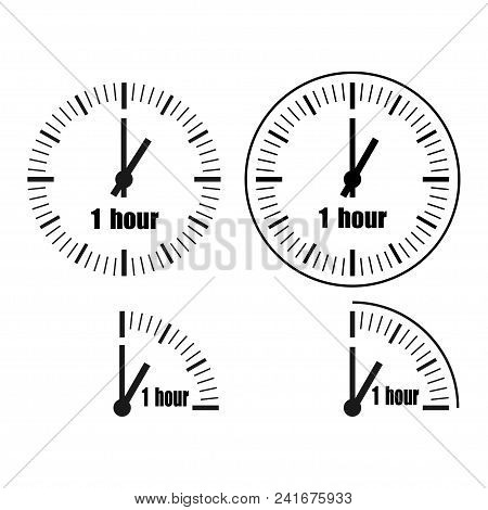 One Hour Clock On White Background. One O'clock.