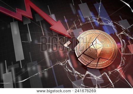 Shiny Golden Farad Cryptocurrency Coin Broken On Negative Chart Crash Baisse Falling Lost Deficit 3d