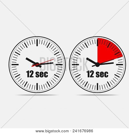 Twelve Seconds Clock On Gray Background. Two Options.