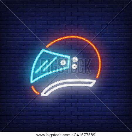 Side View Of Biker Helmet On Brick Background. Neon Style Vector Illustration. Biker, Protective Spo