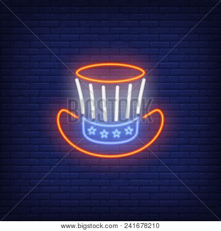 Uncle Sams Hat. Neon Style Illustration On Brick Background. Independence Day, Presidents Day, Carni