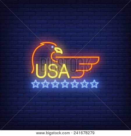 Usa And Eagle Symbol With Stars On Brick Background. Neon Style Illustration. Usa Symbol, Independen