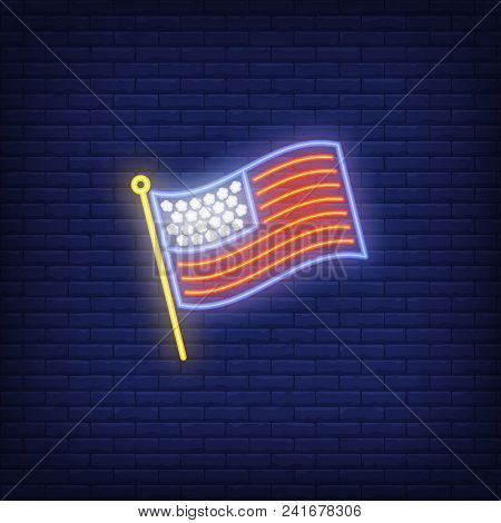 Usa Flag On Brick Background. Neon Style Illustration. Usa Symbol, Country, America. Usa Banner. For