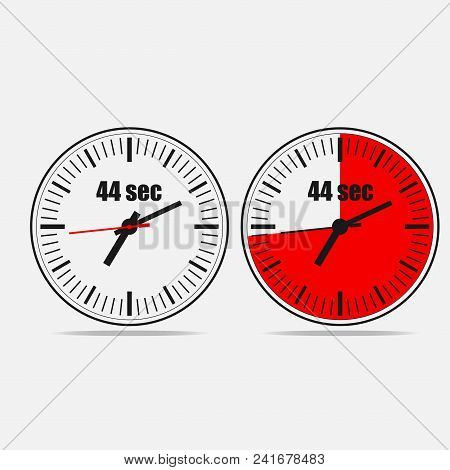 Fourty Four Seconds Clock On Gray Background. Two Options.