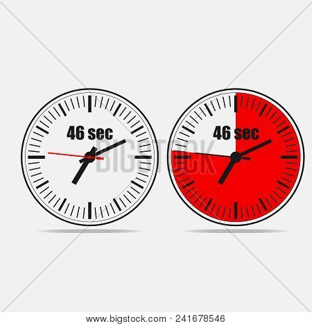 Fourty Six Seconds Clock On Gray Background. Two Options.