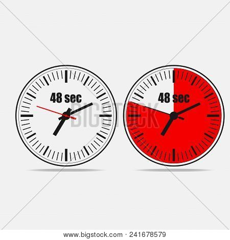 Fourty Eight Seconds Clock On Gray Background. Two Options.