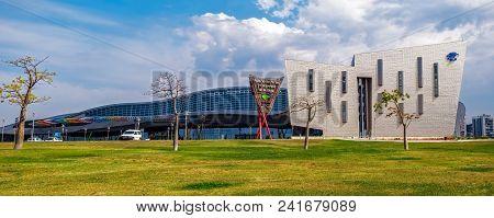 Malaga, Spain - May 20, 2018. Trade Fair And Congress Center Of Malaga, Spain. This Building Has A T