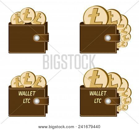 Set Of Brown Wallets With Litecoin Coins On A White Background , Crypto Currency In The Wallet,sign