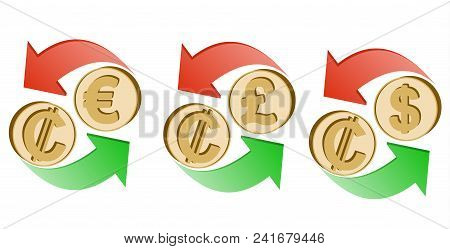 Exchange Costa-rican Colon To Euro, Pound Sterling And Dollar On A White Background , Sign Currency