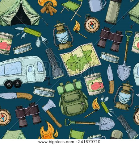 Seamless Pattern Of Travel Equipment. Accessories For Camping And Camps. Colorful Sketch Cartoon Ill