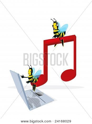Bee And Musical Note
