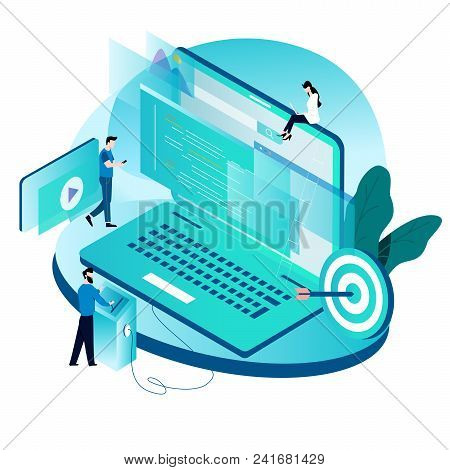 Modern Isometric Concept For Coding, Programming, Website And Application Development Vector Illustr