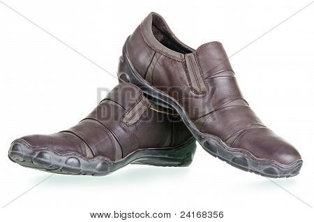 Men's Walking Shoes On A White Background