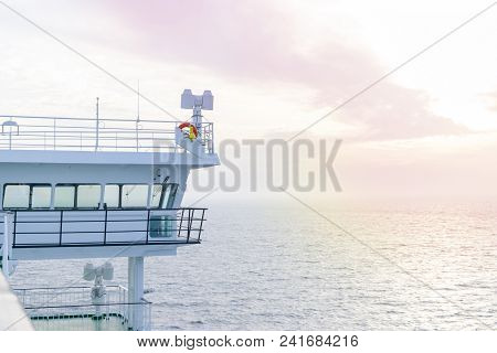 Cruise Ship White Cabin With Big Windows. Wing Of Running Bridge Of Cruise Liner. White Cruise Ship