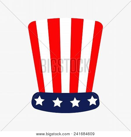 Hat With Stars And Strip Icon. Presidents Independence Day Red Blue Color. Flat Design White Backgro